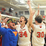 Joe Hyster 34 and Casey Smith 30 celebrate PAC stripes title win on Feb. 19.  Steve Manheim