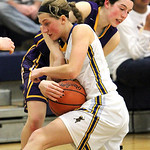 ANNA NORRIS/CHRONICLE Avon's Mackenzie Meckes and Wooster's Carla Stoll battle for the loose ball in the second half of the Division I district semi-final game at Valley Forge High School Mo …