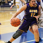 ANNA NORRIS/CHRONICLE Avon's Sierra Davidson drives hard toward the basket around Wooster's Sydney Logee in the first half of the Division I district semi-final game at Valley Forge High Sch …