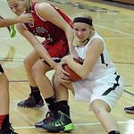 Firelands Keely Hall and Amherst Mallory Sliman fight for rebound Nov. 25.  Steve Manheim