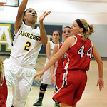 Amherst Sher Champe shoots over Firelands Keely Hall Nov. 25.   Steve Manheim