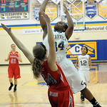 Clearview's Angel Blakely shoots over Fairview's Rachel Malloy.  STEVE MANHEIM/CHRONICLE