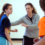 Lake Ridge coach Lisa Medvetz coachs her girls during their drills.