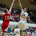Oberlin's Marcus Bailey puts up a shot over LaBrae's #10 Peyton Aldridge.