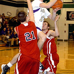 Vermilion's #13 Kyle Nader tries to shoot past Firelands' #21 Logan Sittinger and #32 Brett Helton.