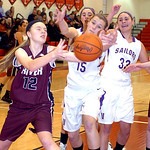 Vermilion's #15 Jennifer Kovaraik fights Rocky River's #12 Nichole Popovich for the ball.