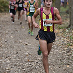 Tim Villari shortly past the two mile mark at the OHSAA State Cross Country Meet in Hebron, OH. Behind him are Dylan Dombi of Medina (Green) and Austin Fasciana of Avon (left, black). photo  …