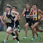 Avon's Austin Fasciana (left with headband)) and Avon Lake's Tim Villari (striped shirt) start their last high school race at the OHSAA State Cross Country Meet in Hebron, OH. photo by Ray R …