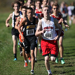 12Oct13_Lutheran West's Drew Fuchs leads the race near the one mile mark followed closely by Black River's Tanner Hawley at the PAC championship. photo by Ray Riedel