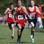 12Oct13_Derek Reynolds of Firelands races to finish 8th followed by Stephen Carter of Fairview (right) and Firelands teammate Michael Adkins at the PAC championship. photo by Ray Riedel