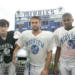 Midview defenders Sr. Zach Bates, DB and WR; Sr. Brett Bartone, LB and RB; and sophomore Dante Redwood, CB and WR are up against Avon Lake at home this Friday.