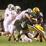 Elyria Catholic players swarm the ball carrier Donte Donner in the game at Amherst. BRUCE BISHOP/CHRONICLE