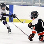 Avon's Darren Carter takes a shot on goal as Normandy's Pete Dragnic attempts to block the shot in the second period Sunday afternoon at Serpentini Arena in Lakewood. ANNA NORRIS/CHRONICLE