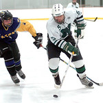 Westlake's Nabil Johnson keeps the puck from Avon's Shane Docherty. LINDA MURPHY/CHRONICLE