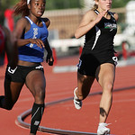 Highland's Sarah Carpenter runs the 200m dash at the OHSAA state championship. photo by Ray Riedel