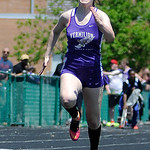 Vermilion High School's Annie Rossi races in the girl's 100m dash. KRISTIN BAUER | CHRONICLE