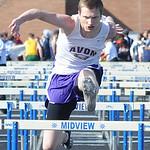 Chad Allen of Avon runs in the boys 110 meter hurdles preliminaries. STEVE MANHEIM/CHRONICLE