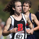 12Oct13_Brookside's Creighton Jensen hears Oberlin's Simon Perales coming, but holds him off at the finish and wins 2nd place at the PAC championship cross country meet. photo by Ray Riedel