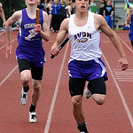 Avon Michael Nose anchors the win alongside Vermilion Kole Johnson in boys 4X200 meter relay May 15.  Steve Manheim