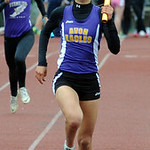 Avon Emily Joyce anchors the win for girls 4X200 meter relay at West Shore Conference champiolnships May 15. Steve Manheim