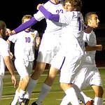 Avon's No. 23 Ryan Poyle and No. 18 Brendan Cannon celebrate Avon's 2nd goal.