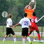 Keystone goalie Brandon Moffat makes a save against Elyria. KRISTIN BAUER | CHRONICLE