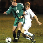Columbia 16 Matt Zelinsky goes up against EC Kevin Turner in Div. III district semi-final on Oct. 23.  Setve Manheim