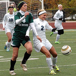 Westlake's Lauren Hurst & Magnificat's Sarah Lawrence fight for the ball. LINDA MURPHY/CHRONICLE