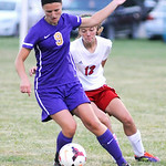 Vermilion's Sarah Bartlome takes the ball toward the goal as Firelands' Jessica Beran defends. KRISTIN BAUER | CHRONICLE