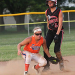Taylor MacWade of Medina is safe at second base in the ASA state softball semi-final game. photo by Ray Riedel