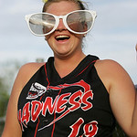 Kay Lee Fox of Vermilion has fun in the dugout at the ASA state softball semi-final game. photo by Ray Riedel