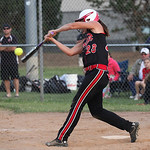Amanda Beursken of Midview gets a hit in the ASA state softball semi-final game. photo by Ray Riedel
