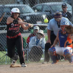 Kate-Lynn Urgo of Vermilion gets a single in the ASA state softball semi-final game. photo by Ray Riedel