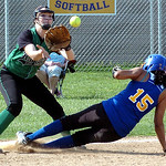 Clearview's #15 Chania Sturgill slides safely into third as Columbia's #9 Amanda Sedlock waits for the ball.