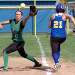 Clearview's #21 Angelica Flecha isn't able to step on first before Columbia's #10 Crystall Fetchet reaches and catches the ball. Flecha was called out.