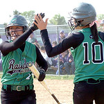 Columbia's #2 Emily Viccarone gets congrats from #10 Crystal Fetcher after crossing home plate. (CT photo by Linda Murphy.)