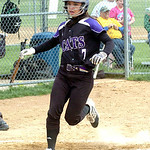 Keystone's #7 Morgan McNulty crosses home plate. (CT photo by Linda Murphy.)