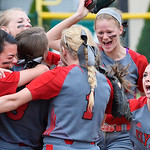 The Elyria Pioneers celebrate their 8-6 win over Oregon Clay yesterday in Clyde. DAVID RICHARD / CHRONICLE