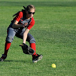 Elyria High School center fielder Jessica Sito fields a ground ball. KRISTIN BAUER | CHRONICLE