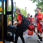Elyria softball players load up the bus for a trip to play to the final four in Akron from Elyria Schools Administrative Building on June  5.  Steve Manheim
