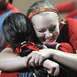 Elyria pitcher Caitlyn Minney, right, celebrates with catcher Haley Looney after a 5-0 win over Mason. DAVID RICHARD / CHRONICLE
