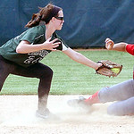 Elyria's #30 Kaitlin Laseke avoids the tag of Westlake #24 Katlyn Nagel as she slides safely into second.