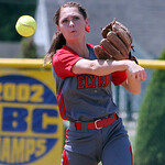 ANNA NORRIS/CHRONICLE Elyria second base Mackenzie Phares makes the quick throw to first base to get the out in the third inning against Brecksville in the Division I Regional 2 championship …