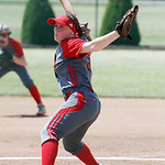 ANNA NORRIS/CHRONICLE Elyria's Elizabeth Ellis winds up to pitch against Brecksville in the second inning of the Division I Regional 2 championship game at Clyde High School Saturday afterno …