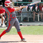 ANNA NORRIS/CHRONICLE Elyria's Kaitlyn Laseke hits an RBI home run in the sixth inning to take a 4-0 lead over  Brecksville in the Division I Regional 2 championship game at Clyde High Schoo …
