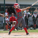 ANNA NORRIS/CHRONICLE Elyria's Kaitlyn Laseke hits a solo home run in the bottom of the second inning against Brecksville in the Division I Regional 2 championship game at Clyde High School  …