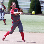 ANNA NORRIS/CHRONICLE Elyria second base Mackenzie Phares makes the throw to first to get the out in the second inning against Brecksville in the Division I Regional 2 championship game at C …