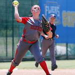 ANNA NORRIS/CHRONICLE Elyria third base Dierra Hammons makes the throw to first for the out against Brecksville in the fourth inning of the Division I Regional 2 championship game at Clyde H …