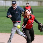 Firelands' Alexis Willis quickly tosses the ball to first base in attempt to get the out against Revere in the fourth inning yesterday at Firestone Stadium in Akron. ANNA NORRIS/CHRONICLE