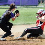 Firelands Samantha Dostall steals second base before ball reaches Keystone Morgan McNulty in first inning May 22.  Steve Manheim